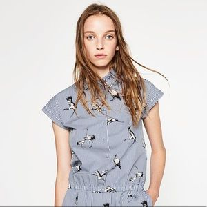 Zara poplin shirt style top